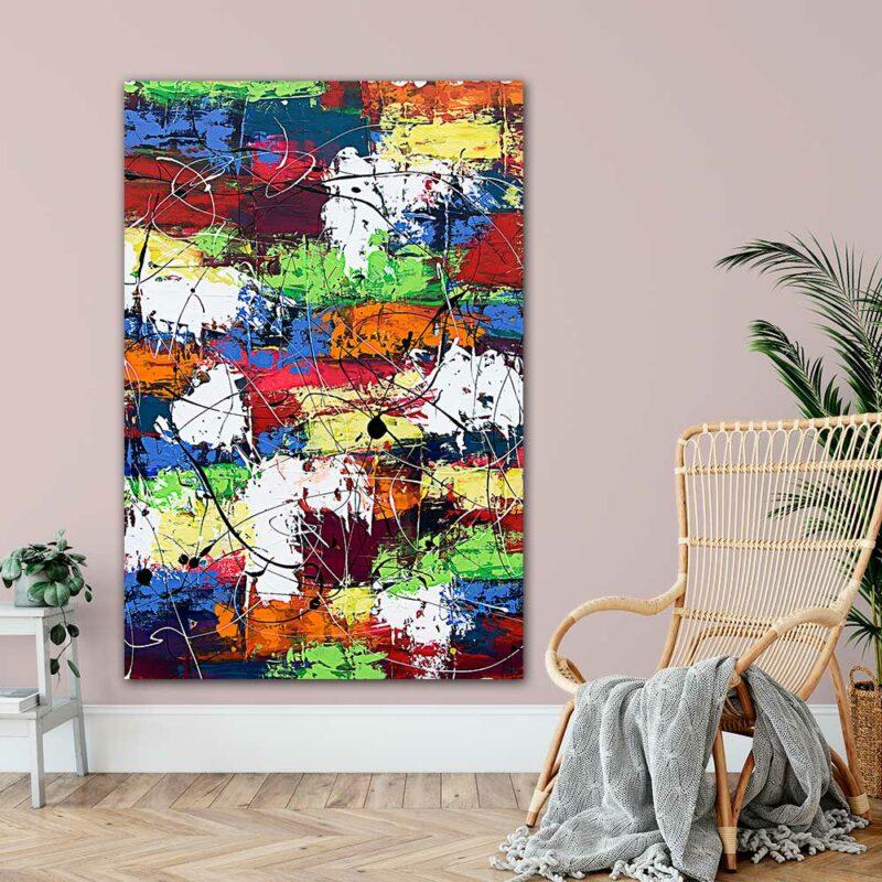 Grosser Art Print XXL mit abstrakter Kunst Vibrant Moor I 100x150 cm