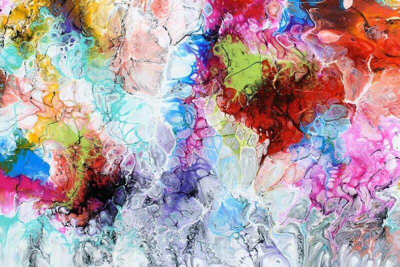 Detailansicht von einem Acrylmalerei in Querformat Fusion III 70x140 cm