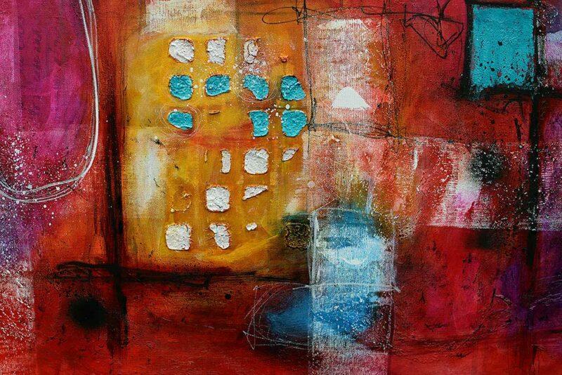 Details von einem handgemalten Wandbild auf Leinwand Intuition I 150x100 cm