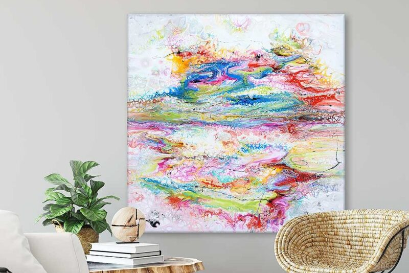 Große Acrylbilder auf Leinwand online kaufen Fusion II 100x100 cm