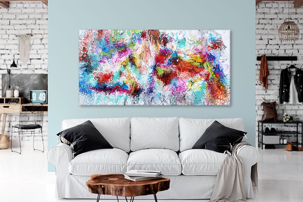 Große moderne Acrylmalereien XXL sind schöne Bilder für die Wand über dem Sofa Fusion III 70x140 cm
