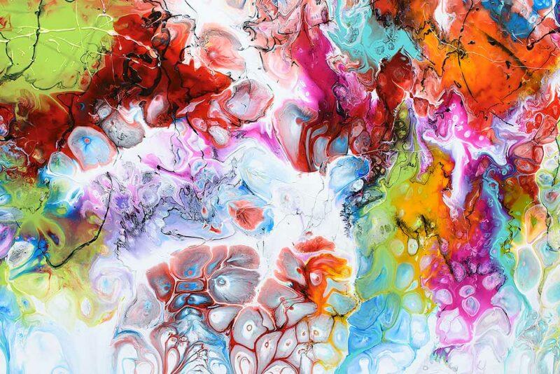 Gemälde in Großformat mit schönen Farben für Zuhause Fusion I 70x140 cm