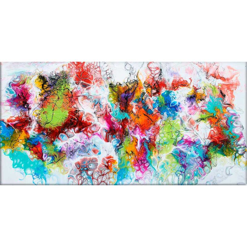 Leinwand Acryl Gemälde XXL mit moderner Kunst Fusion I 70x140 cm
