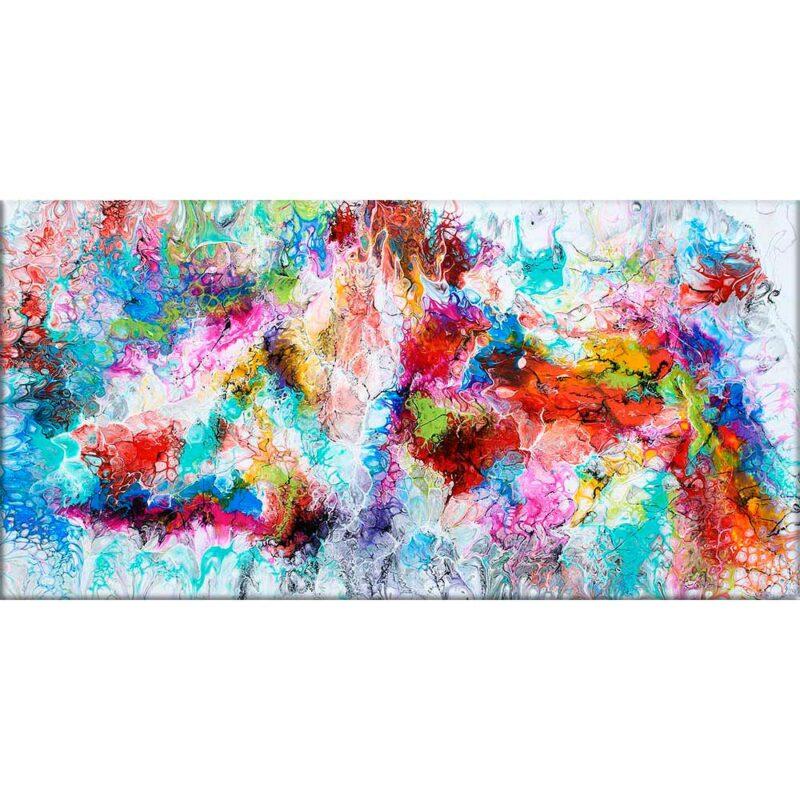 Moderne Acryl Malerei handgemalt in gegenwärtigen Farben Fusion III 70x140 cm