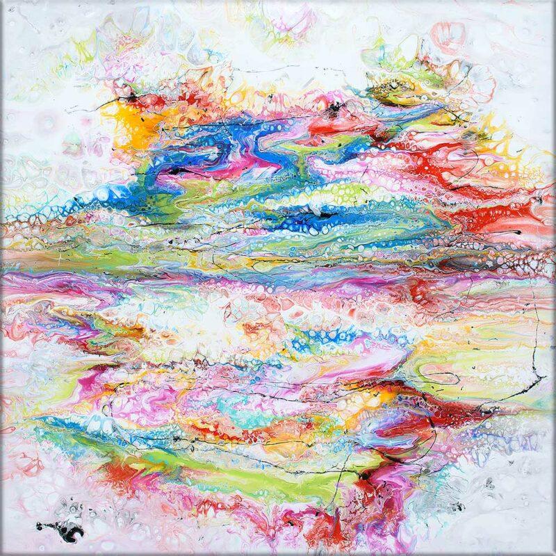 Moderne farbige Acrylbilder sind schöne Kunst auf Leinwand Fusion II 100x100 cm