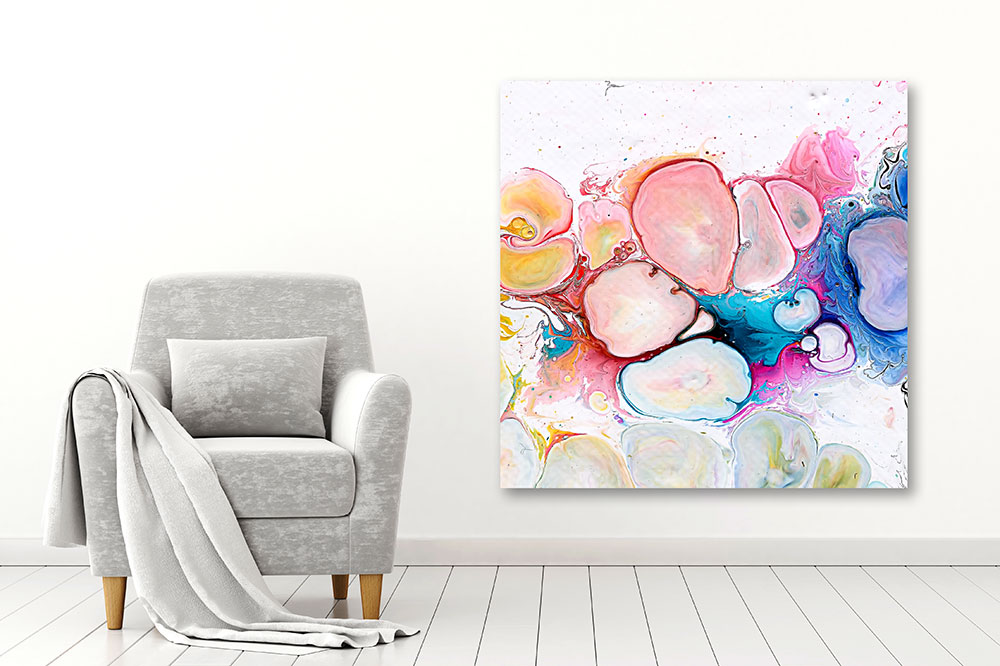 Moderne Kunstdrucke auf Leinwand für Wohnzimmer Moments I 100x100 cm