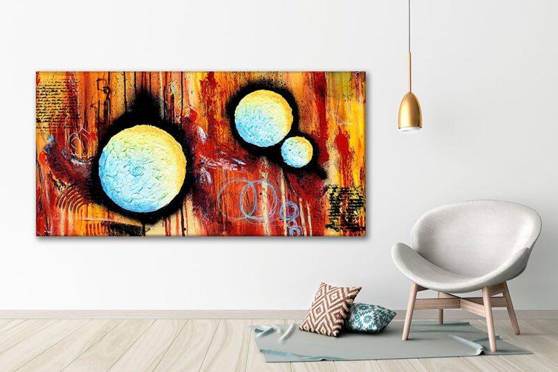 Abstrakte Leinwandbilder für die Wände im Wohnzimmer Sphere II 70x140 cm
