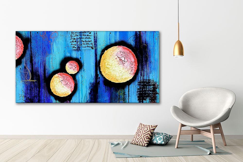 Premium große Bilder auf Leinwand XXL in blauen und orangen Farben Sphere I 70x140 cm