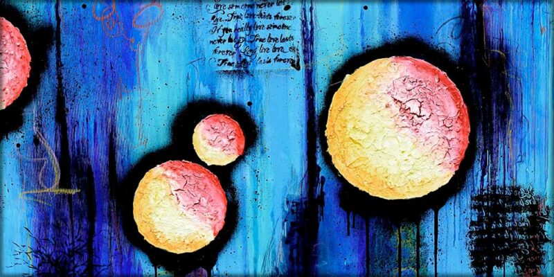 Trendiges Bild auf Leinwand mit moderner Kunst Sphere I 70x140 cm