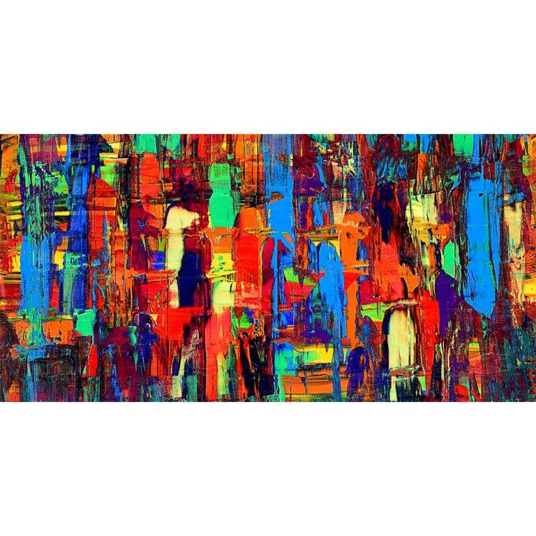 Buntes Leinwandbild mit zeitgenössischer Kunst Fireflies I 70x140 cm