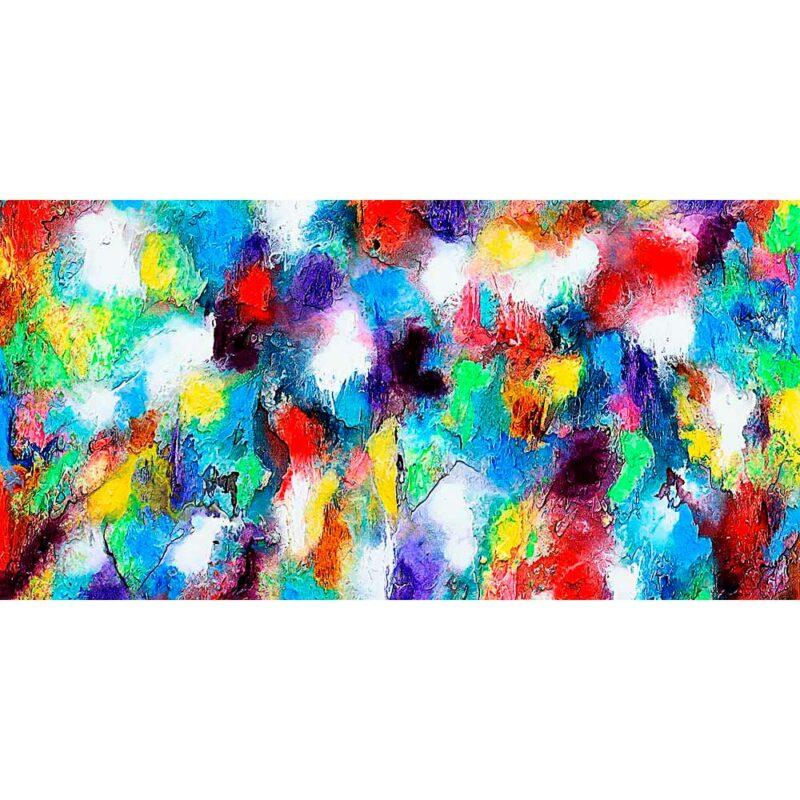 Handbespannter Kunstdruck auf Leinwand in einem farbfrohen Design - Alteration I 70x140 cm