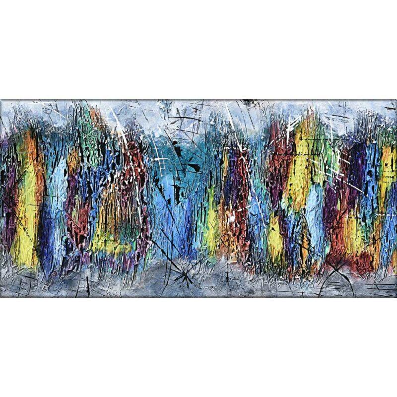 Modernes Leinwanddruck mit stilvollen Farben in abstraktes Design Downtown I 70x140 cm