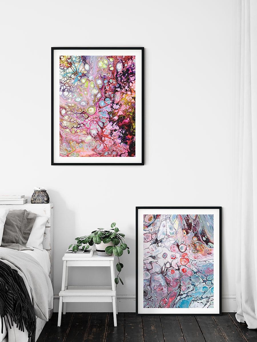 Schlafzimmerposter mit moderner Kunst